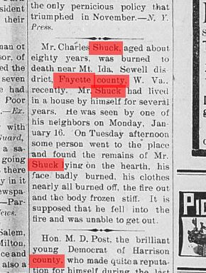 charles shuck obit 1893