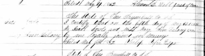 jacob sowle mary delong marriage 5 may 1852 trumbull ohio