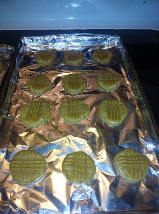 frf pb cookie going in oven