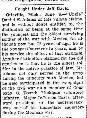 daniel adams fought in mexican war jeff davis marshall news 12 june 1903 pg 4