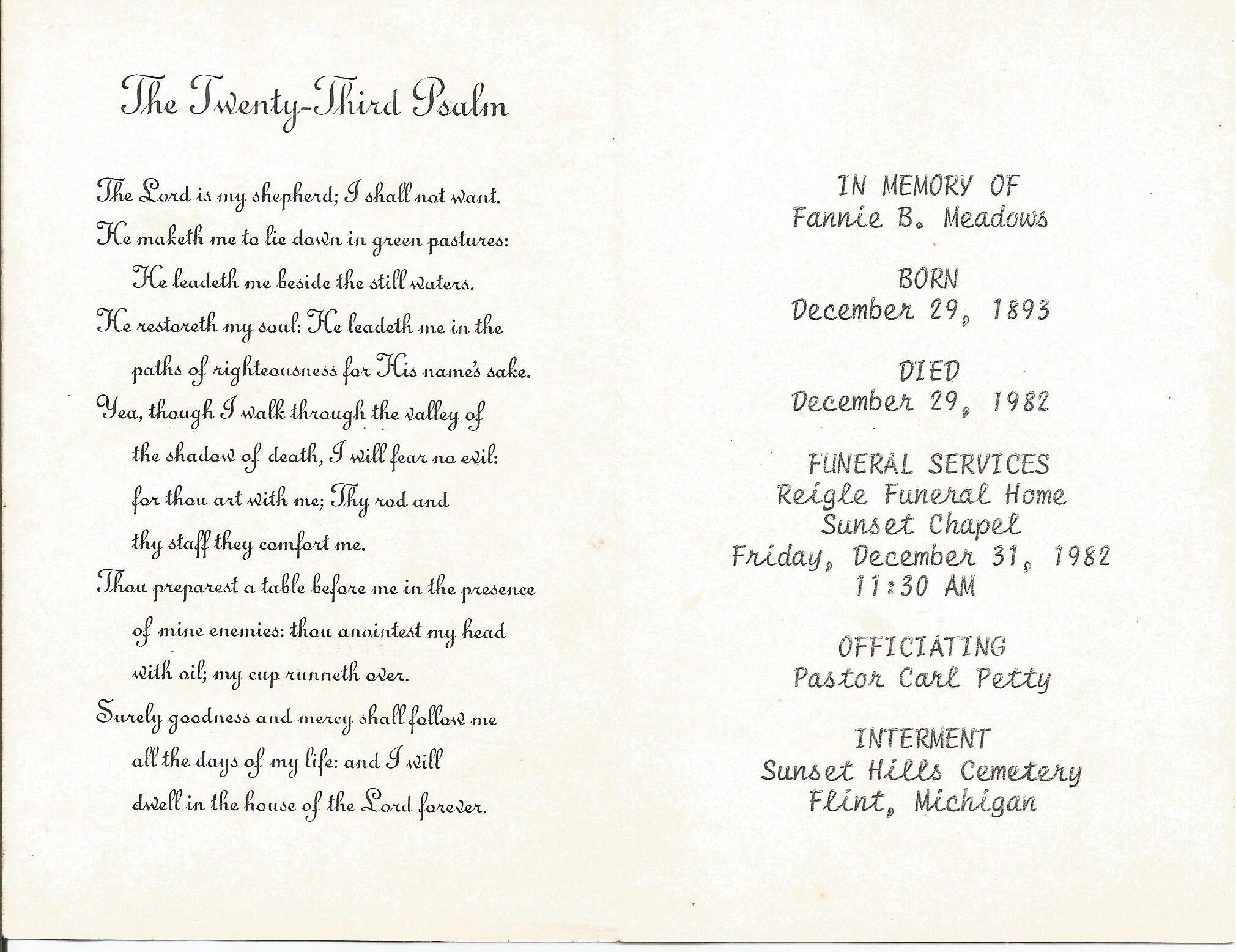 gma meadows funeral card