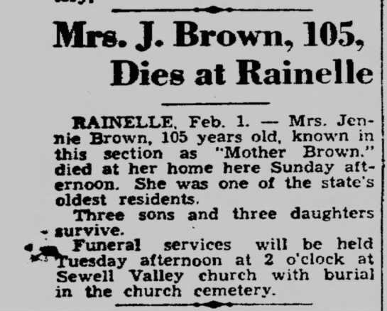 obit of Mrs Jennie Brown 105